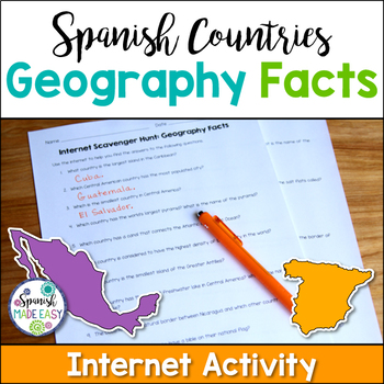 Spanish Countries Geography Facts Internet Scavenger Hunt