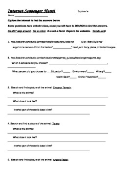 Internet Scavenger Hunt !  Great End-of-Year Activity