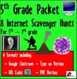 Internet Scavenger Hunt Bundle - Fifth Grade - Distance Learning