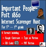 Internet Scavenger Hunt - 5th Grade & Up - People in US History post 1860