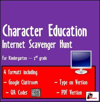 Internet Scavenger Hunt - Primary Grades - Positive Character Traits