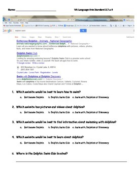 Internet Search Practice- uses real search engine example!!
