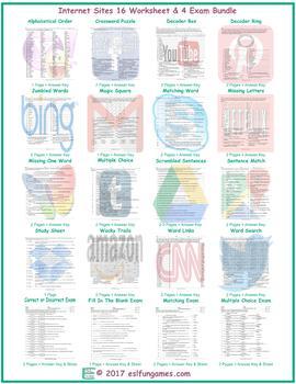 Internet Sites 16 Worksheet- 4 Exam Bundle