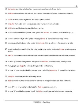 Internet Sites-Terms-Activities Fill In The Blanks Exam