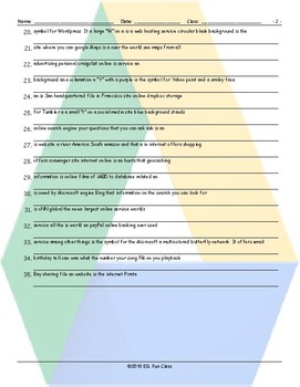 Internet Sites-Terms-Activities Scrambled Sentences Worksheet