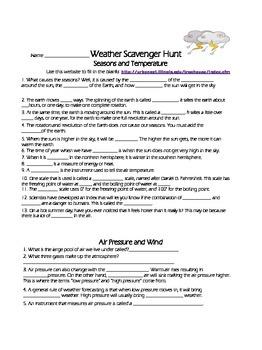 Internet Weather Scavenger Hunt