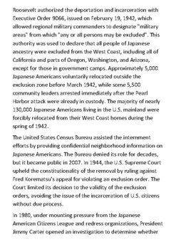 Internment of Japanese Americans Handout