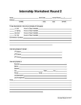 Internship research worksheet 2