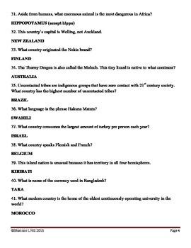 International Trivia Questions 2015