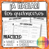 ¡A Hablar! Interpersonal Speaking Activity – Chores Information Gap (Quehaceres)