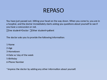 Interpersonal Speaking Assessment Spanish 1