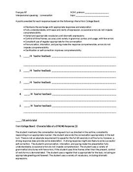 Interpersonal Speaking / Conversation / Dialogue Grading Rubric