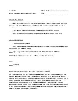 Interpersonal Writing / E-mail Response Grading Rubric
