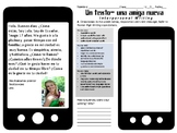 Spanish Interpersonal Writing Novice High: A new friend text