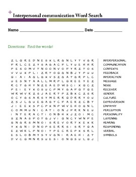 Interpersonal communication Word Search