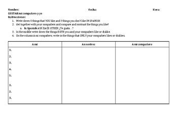 Interpersonal speaking practice GUSTAR Spanish 1