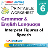 Interpret Figures of Speech Printable Worksheet, Grade 6
