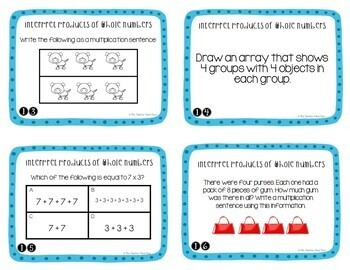 Interpret Products of Whole Numbers Task Cards for 3rd Grade