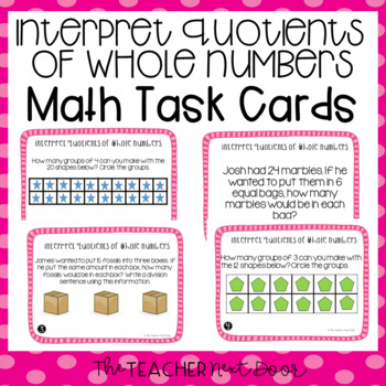 Interpret Quotients of Whole Numbers Task Cards for 3rd Grade
