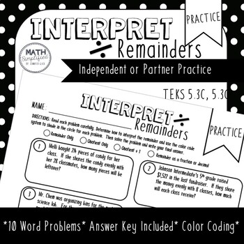 Interpret Remainders: Division Practice