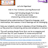 Interpret Similes and Metaphors Google Form Quiz- Distance