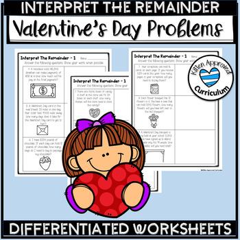 Interpret The Remainder Word Problems Valentine's Day Division Word Problems