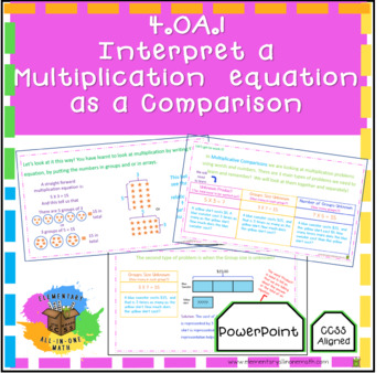 Interpret a Multiplication  Equation  as a Comparison - (4.OA.1) PowerPoint