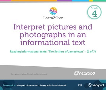 Interpret pictures and photographs in an informational text