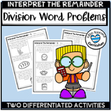 Interpreting Remainders Word Problems Division with Remainders