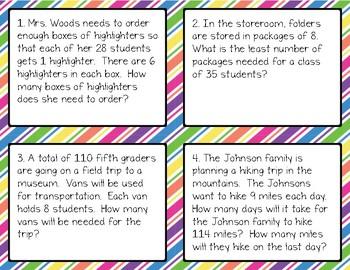 Math - Interpret the Remainder Word Problems
