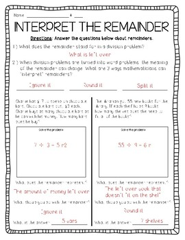 Interpreting remainders worksheet
