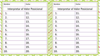 Interpretar el Valor Posicional de los Dígitos - Tarjetas de Trabajo