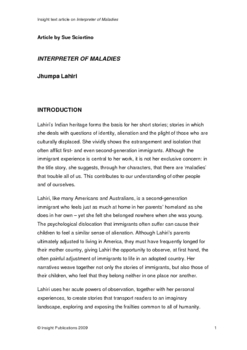 Interpreter of Maladies Insight Text Article