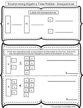 Interpreting Algebra Tiles - Inequalities ISN Booklet TEKS 6.10A