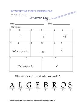 Interpreting Algebraic Expressions Walk About Activity