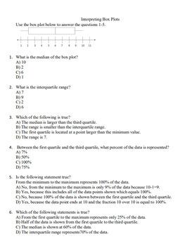 Interpreting Box Plots 6.13A