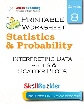 Interpreting Data Tables & Scatter Plots Printable Worksheet, Grade 8