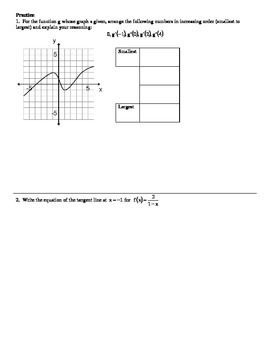 Interpreting Derivative Graphically (includes answer key)