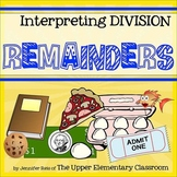 Interpreting Division Remainders -Hands-On Centers or Remote Learning Task Cards