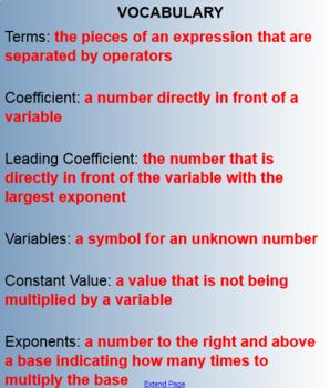 Interpreting Expressions (Math 1)