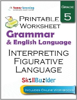 Interpreting Figurative Language Printable Worksheet, Grade 5