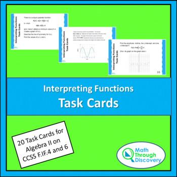 Algebra 2:  Interpreting Functions Task Cards