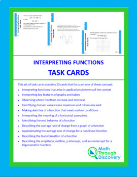 Interpreting Functions Task Cards - Algebra 2