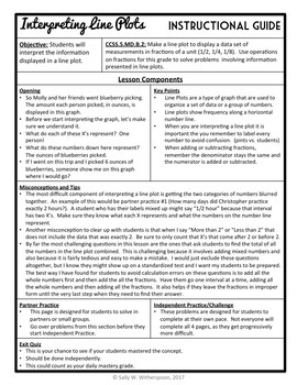 Interpreting Line Plots, Fifth Grade 8-page Lesson Packet + Quiz (5.MD.2)