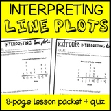 Interpreting Line Plots, Fifth Grade 8-page Lesson Packet & Quiz (5.MD.2)