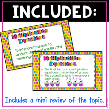 Interpreting Multiplication Equations Digital Task Cards