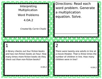 Interpreting Multiplication Word Problems