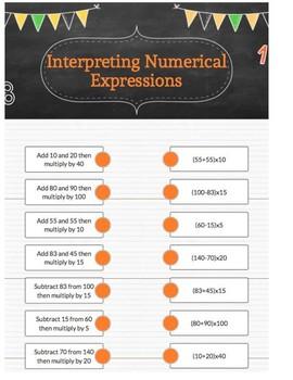 Interpreting Numerical Expressions Grade 5 Common Core Standard: 5.OA.A.2