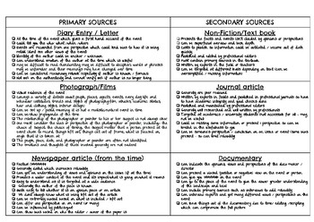Interpreting Primary and Secondary Historical Sources