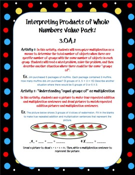 Interpreting Products of Whole Numbers 3.OA.1